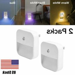 2 Pack Plug in LED Night Light Wall Lamp Dusk to Dawn Sensor
