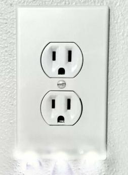 3 Wall Plate Outlet Covers Duplex With Night Led Ambient Lig