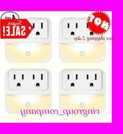 4 PACK Outlet Wall Plate with LED Night Lights-no Batteries