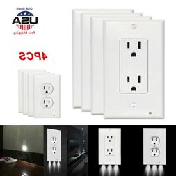 LED Lights Wall Outlet Cover Hallway Bathroom 4x Night Light Plate Plug Cover