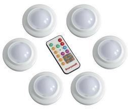 6 Honeywell LED Multi Color Puck Lights with Remote & Batter