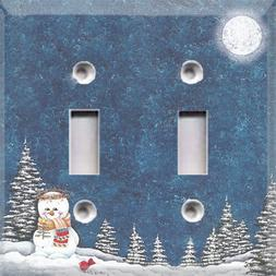 Christmas Winter Night Snowman Themed Light Switch Cover ~ C
