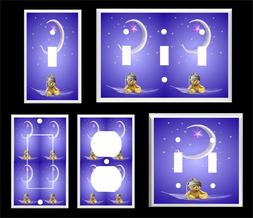 GOOD NIGHT TEDDY BEAR MOON AND STARS LIGHT SWITCH COVER PLAT