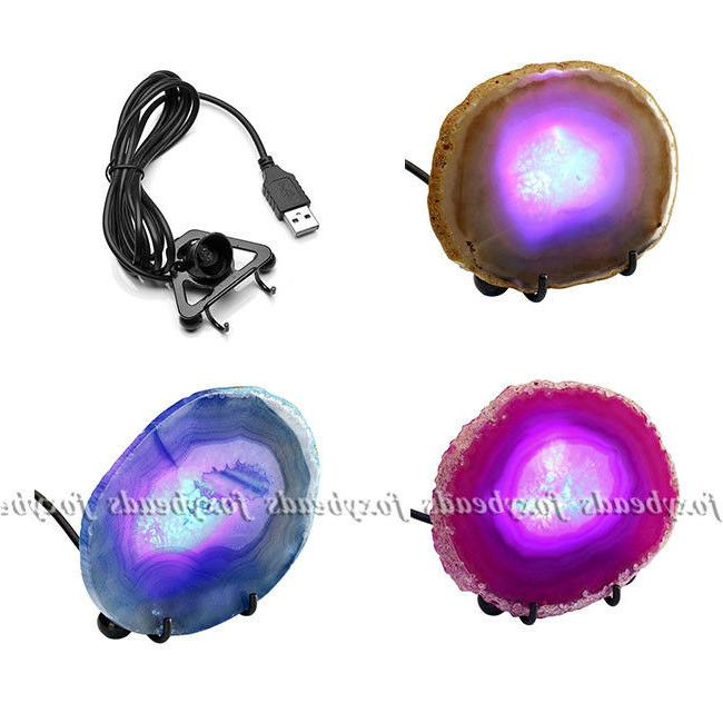 3 color dyeing unwrapped agate stone tripod