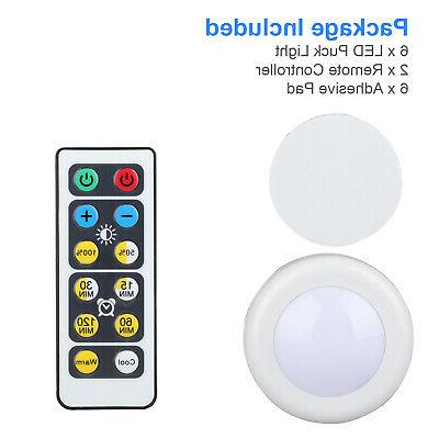 6Pcs Wireless Puck Lights Closet Under Lighting With Remote