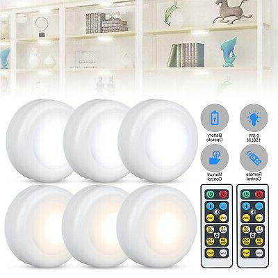 6pcs wireless led puck lights closet under