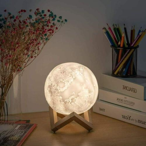 Moon Lamp 3D Printed Night Light with 3 Colors Dimmable Wood