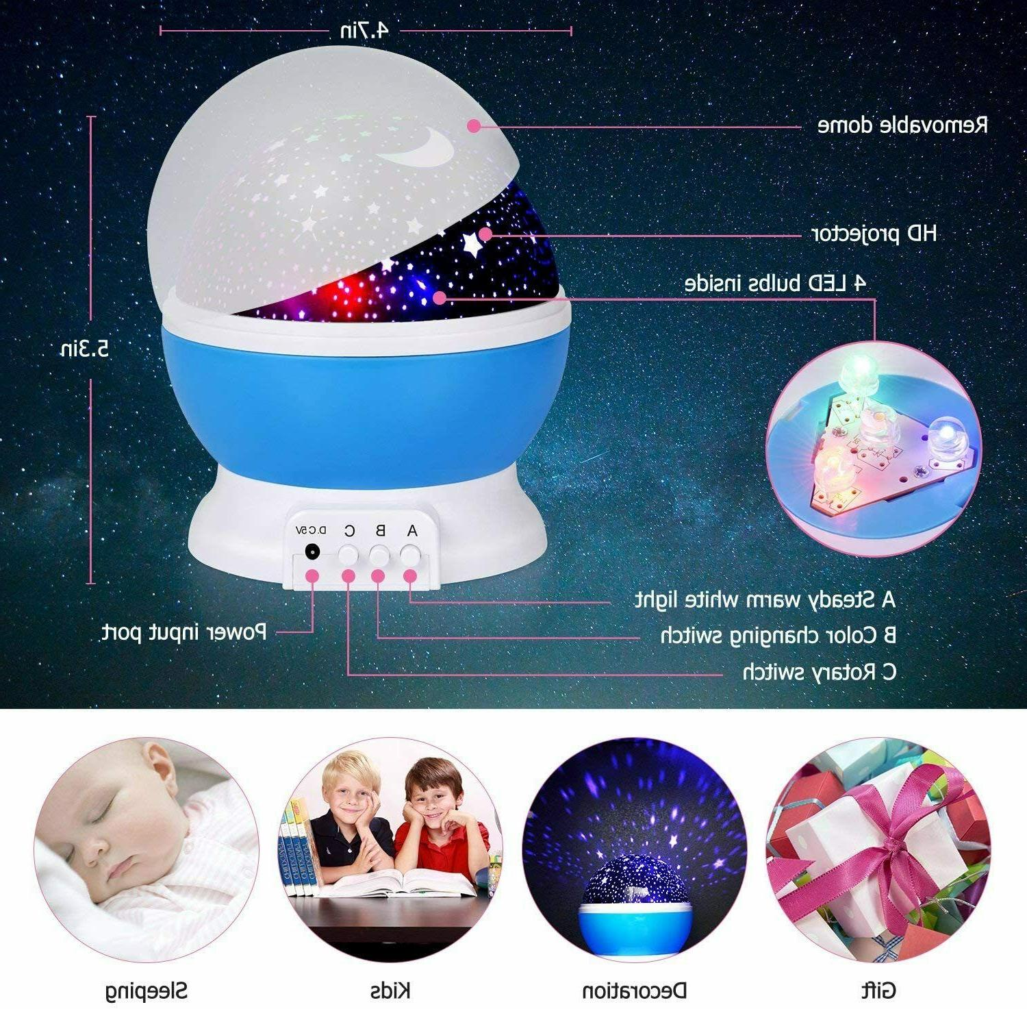 Kids Star Moon 360-Degree Rotating Star Projector