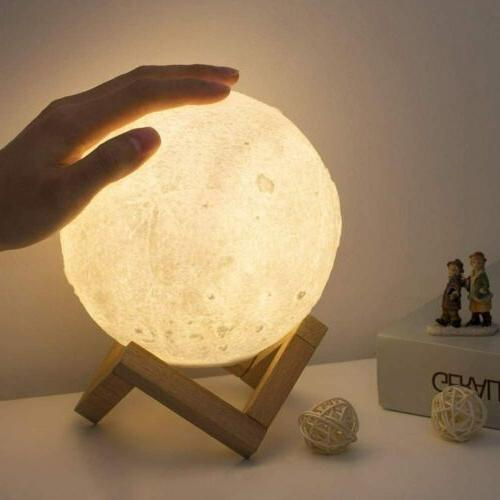 Decorative Moon Lamp 3D Printed Night Light with 3 Colors Di