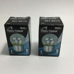NEW Set Of 2 Clear Standard Base 71/2w Night Light Bulb Feit