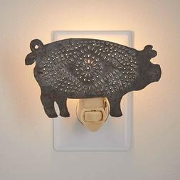Punched Tin Pig Night Light By Park Designs W/ Light Bulb On