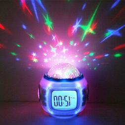 Starry Projector LED Music Alarm Clock with Snooze for Kids